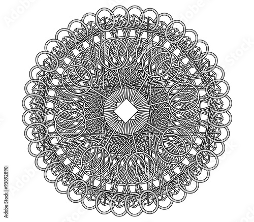 Geometric complex mandala coloring book page