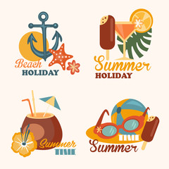 Set of Beach Holiday and Summer Elements Vector Illustrations in