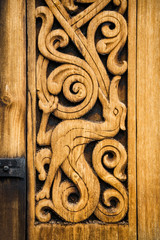The wooden detail of the medieval Norwegian church in Heddal.