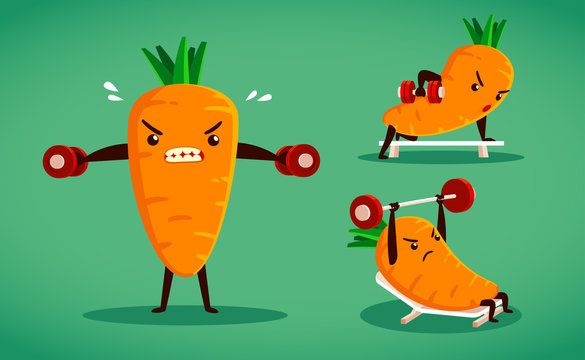 set of carrot characters weight training B