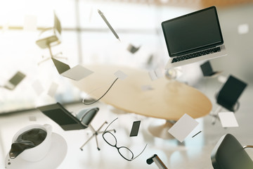 Concept of chaos in a modern office, with flying computers, chai