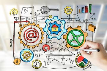 Hand draws business idea concept