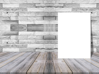 Blank white paper poster on plank wooden table and pattern marble wall,Template mock up for adding your design