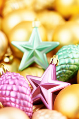 Christmas toys background. Gold collection