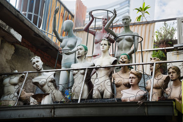 Mannequins on the roof of a building, Singapore