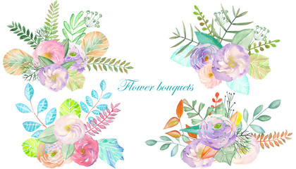 Set of bouquets with flowers, leaves and plants painted in watercolor on a white background for greeting card or invitation