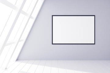 Fototapete - Blank picture frame on grey wall and white wooden floor