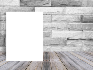 Blank white paper poster on plank wooden floor and pattern marble wall, Template mock up for adding your content,leave side space for display of product