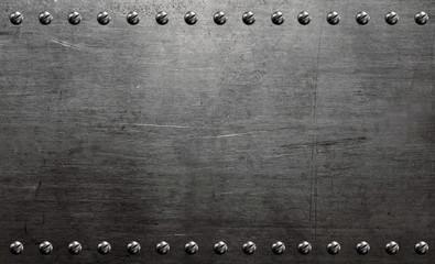 Metal background, riveted metal plate