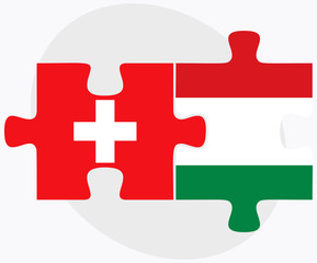 Switzerland and Hungary Flags