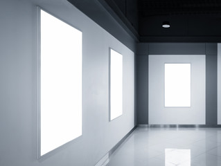 Blank Poster Light box display on wall Exhibition room Interior