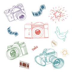 illustration of camera and photography elements hand drawn