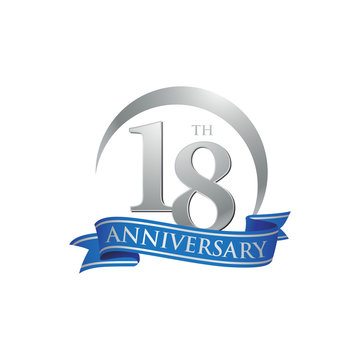 18th anniversary ring logo blue ribbon