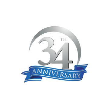 34th anniversary ring logo blue ribbon