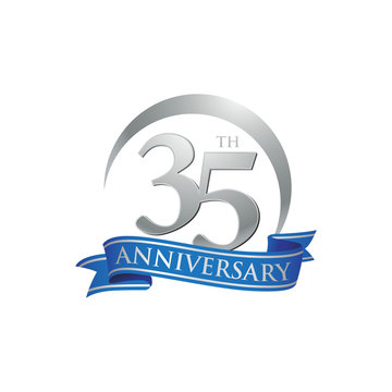 35th anniversary ring logo blue ribbon