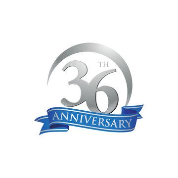36th anniversary ring logo blue ribbon