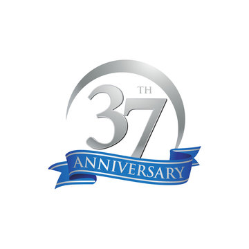 37th anniversary ring logo blue ribbon