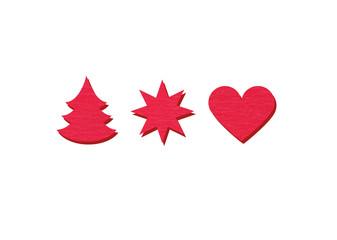 Tanne Stern Herz rot mit Schatten freigestellt