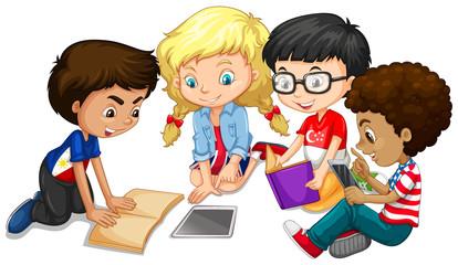 Group of children doing homework
