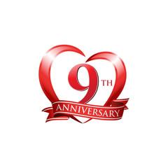9th anniversary logo red heart ribbon