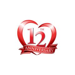12th anniversary logo red heart ribbon