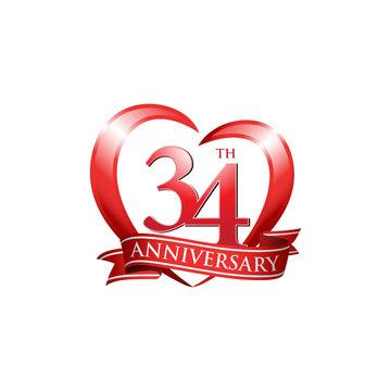 34th anniversary logo red heart ribbon