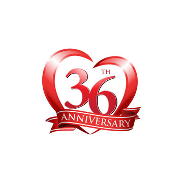 36th anniversary logo red heart ribbon