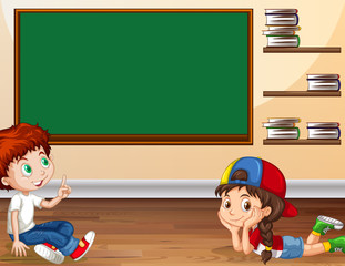 Boy and girl learning in classroom