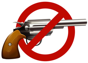 Gun control sign with shotgun