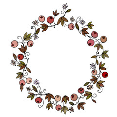 Hand-drawn floral wreath. Round frame made of leaves, berries and flowers. Color vector illustration