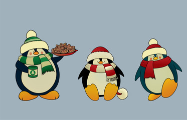 Set of 3 sweet and funny looking Christmas penguins.Isolated vector illustration
