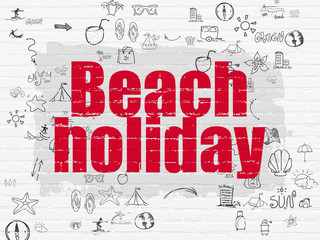 Tourism concept: Beach Holiday on wall background