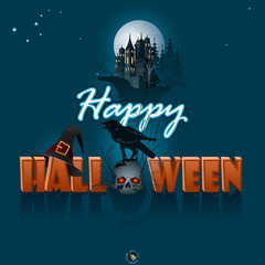 Happy Halloween, graphic background with castle silhouette in the full moon light; Holidays, template with wizard hat, Halloween three-dimensional text and a skull wearing a raven on top