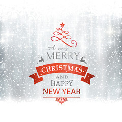 Silver Merry Christmas typography card
