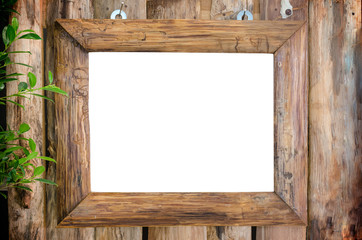 Classic wooden frame on wood wall