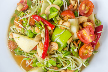 Fresh salad with fruits and Sunflower sprout