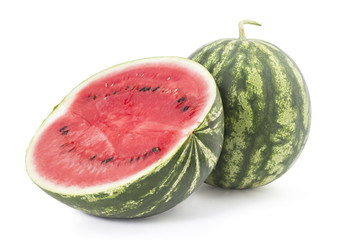 Sweet ripe watermelons isolated on white background