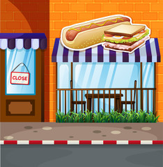 Fastfood shop by the street