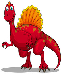 Red dinosaur with sharp claws