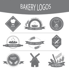 Set of bakery logos, labels, badges.