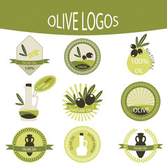 Set of olive oil logos, labels, badges.