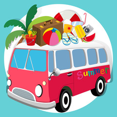 Summer theme with van loaded with things