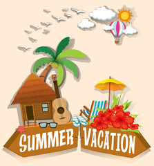 Summer vacation theme with bungalow