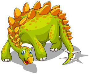 Green dinosaur with spikes tail