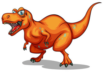 orange dinosaur with sharp teeth
