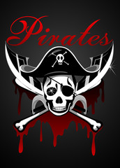 Pirates theme with skull and swords