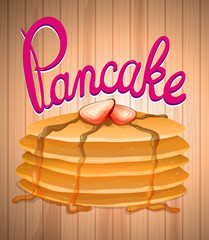 Layer of pancake and fresh strawberry