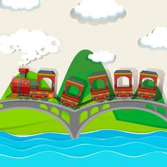Train crossing over the bridge