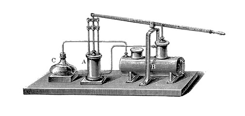 Vintage engraving, Carré's ice-making device,the first absorption refrigerator, using water and sulphuric acid