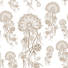 Hand drawn jellyfish. Vector illustration. Henna Mehendi  Doodle